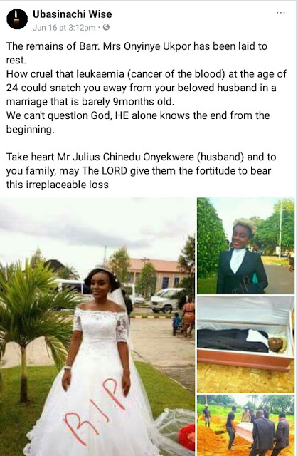 24-year-old Nigerian lawyer dies of leukemia 9 months after her wedding
