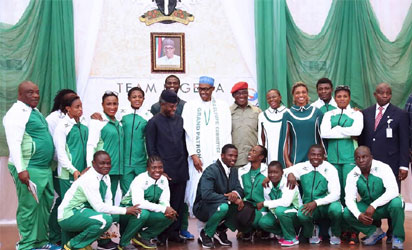 Rio 2016 team Nigeria and President Buhari and Vice President Osinbajo
