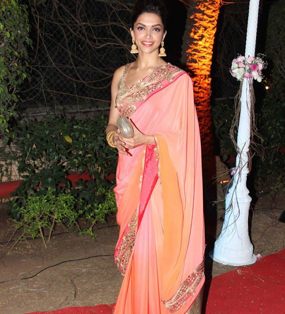 Deepika Padukone in Peach and Pink Designer Dual Color Saree