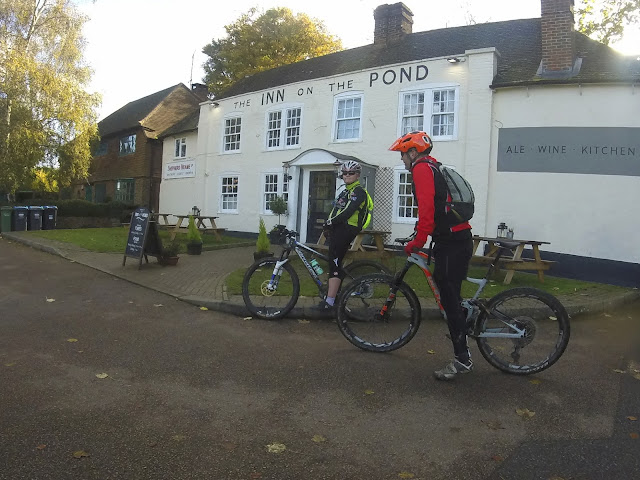 Mountain bike cycling, pub stop. The Inn on the Pond