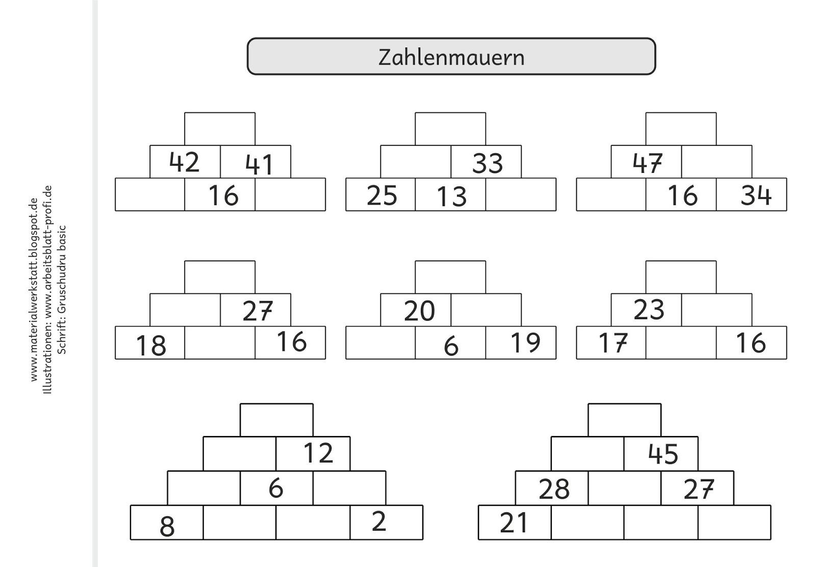 Materialwerkstatt Rechenmini Zr 100 Zahlenmauern