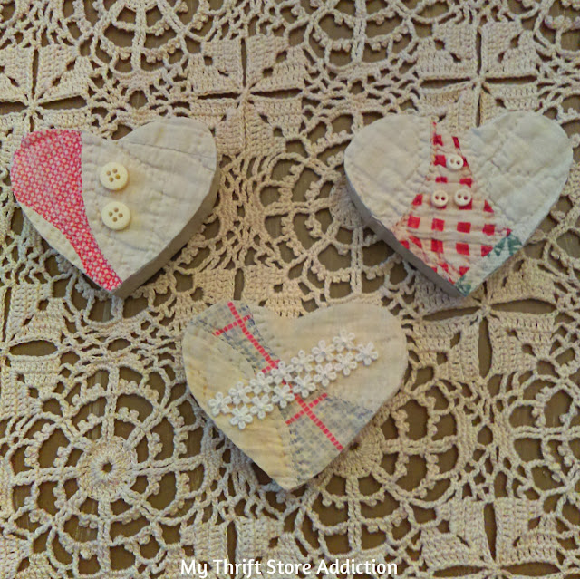 upcycled vintage quilt and wood message hearts