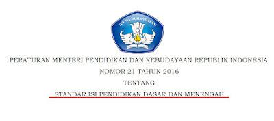 Permendikbud Nomor 21 Tahun 2016 Tentang Standar Isi Pendidikan Dasar dan Menengah