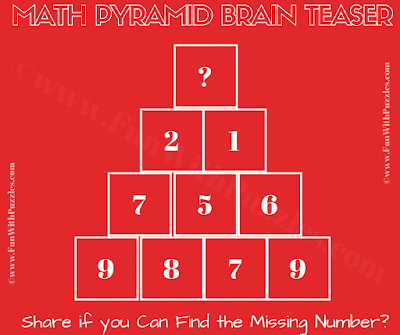This Tough Math Picture Puzzle is for adults in which your challenge is to find the missing number which replaces question mark at top of the pyramid