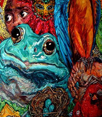 blue frog, green frog, frog art, frog painting, crawfish, cardinal, bird nest, bird eggs, robin eggs, macaw art, macaw painting, louisiana, south louisiana, cajun