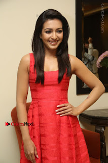 Actress Catherine Tresa Latest Pos in Red Short Dress at Intex Air Conditioners Launch  0015.jpg