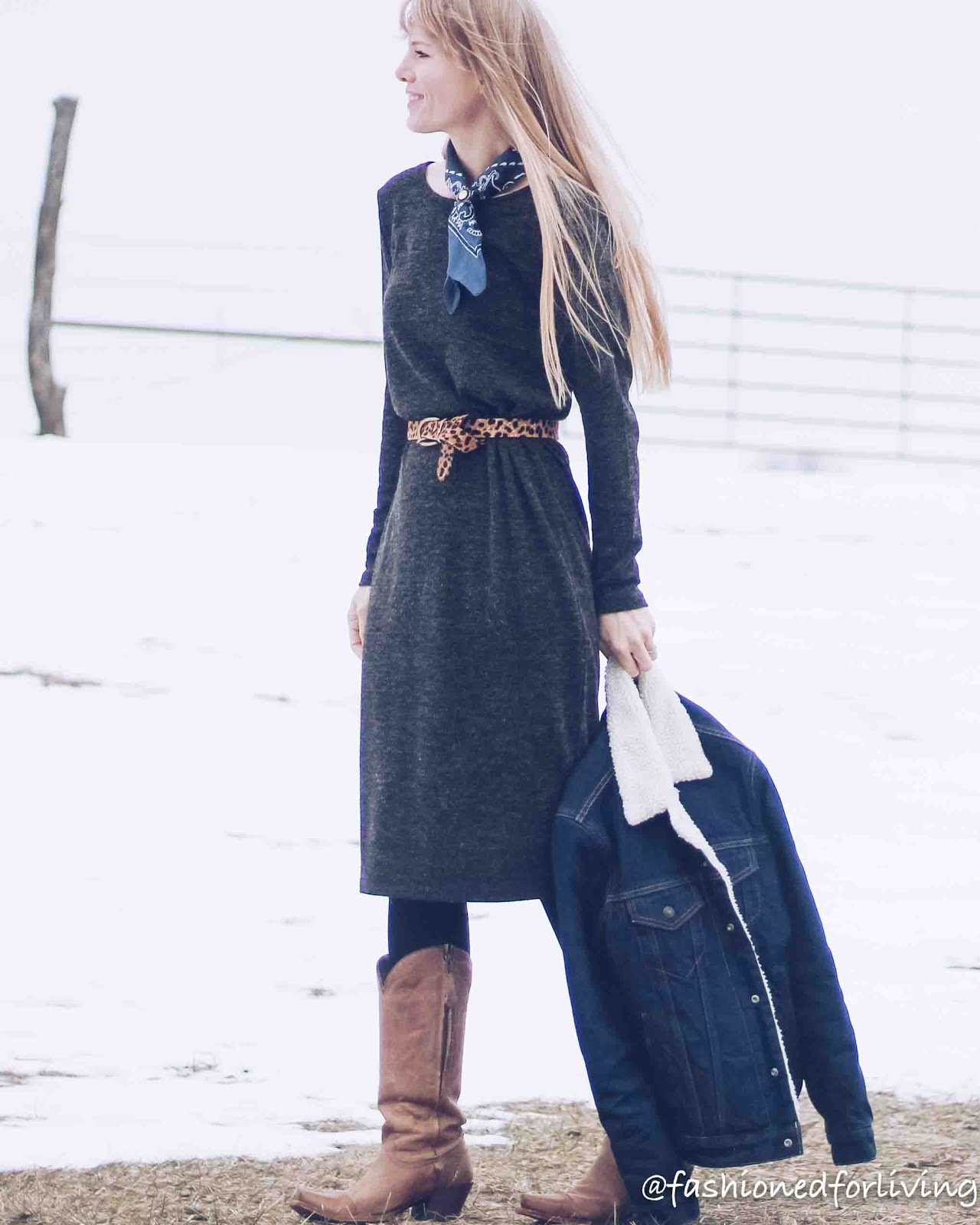 western chic outfit - cowgirl boots and dress