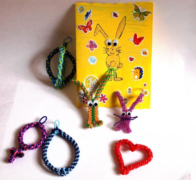 Ostern, DIY, Scoubidou, Postkarte, Osterhase, Ostereier, Herz, Venussymbol