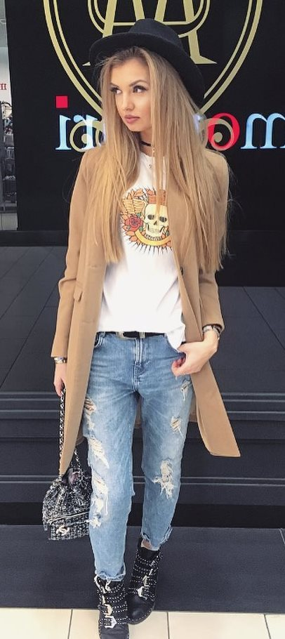 casual style addict: hat + coat + rips + top