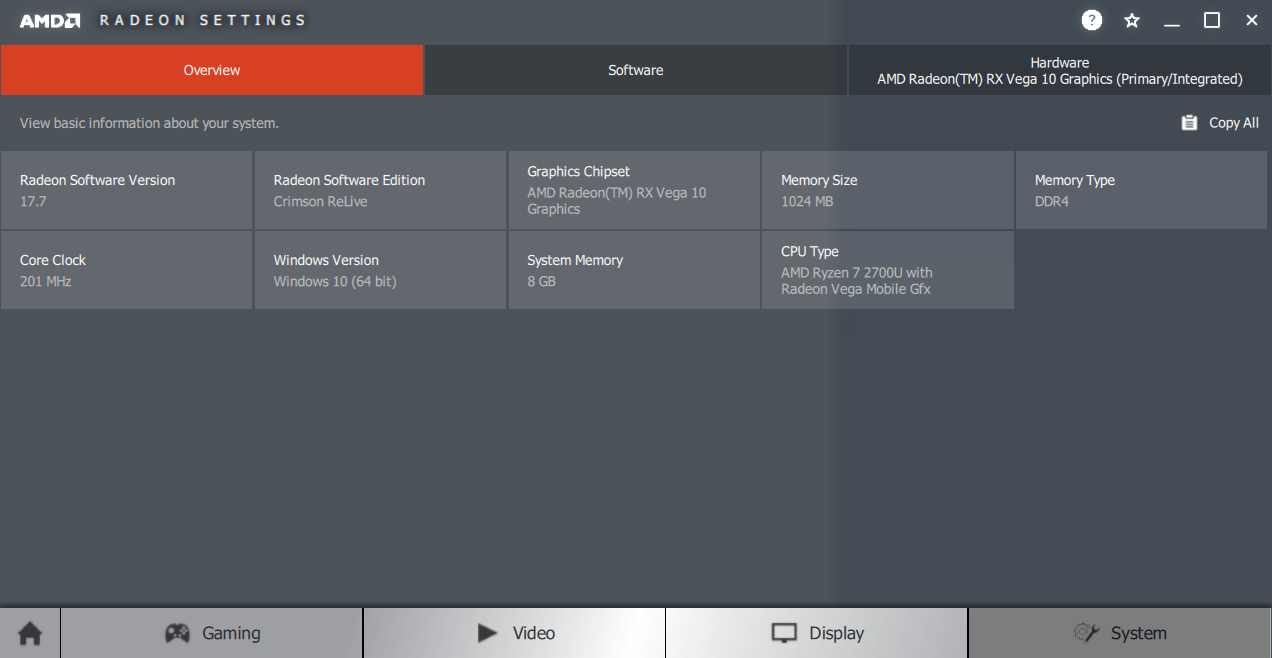 AMD Radeon Settings - System