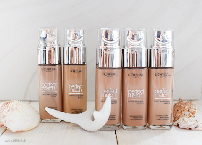 L'Oreal Perfect Match Foundation für mitte helle Haut, Töne 4 bis 5