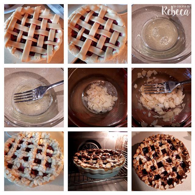 Receta de pastel tipo pie de cerezas y almendra: decorando y horneando