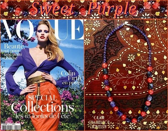 Glam Chameleon Jewelry barrel amethyst and cherry quartz necklace