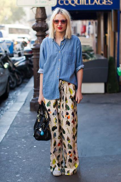 pajama trend, slip dress, spring 2016 trends, denim shirt