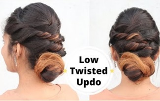 Easy Low Twisted Updo For Medium Hair in hindi / Self Hairstyle