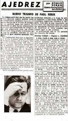 Recorte de La Vanguardia sobre el Torneo Internacional de Ajedrez Zúrich 1961