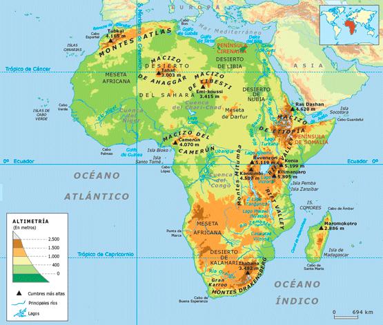 Relieve De Africa Mapa.Mapa Del Relieve De Africa Para Colorear America Centra