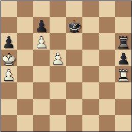 Partida de ajedrez Rey Ardid vs. Medina, posición después de 57.c6!