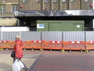 STATE Cinema - Barriers outside the cinema as construction begins.
