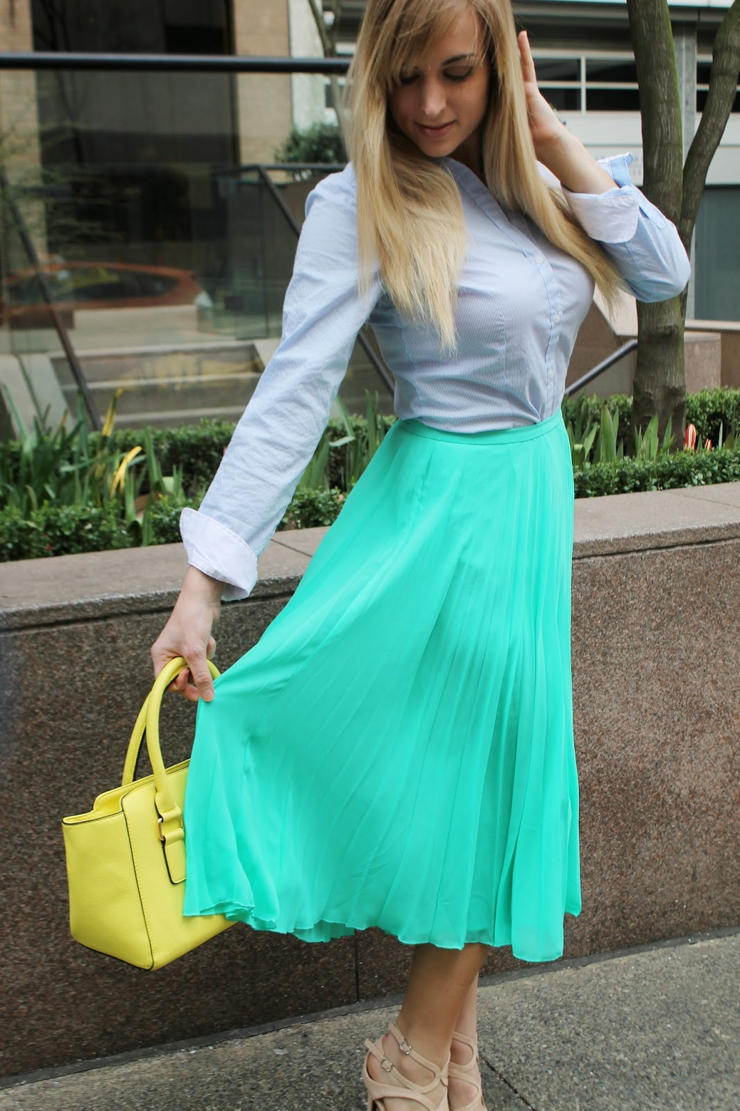mint-midi-skirt-striped-blouse