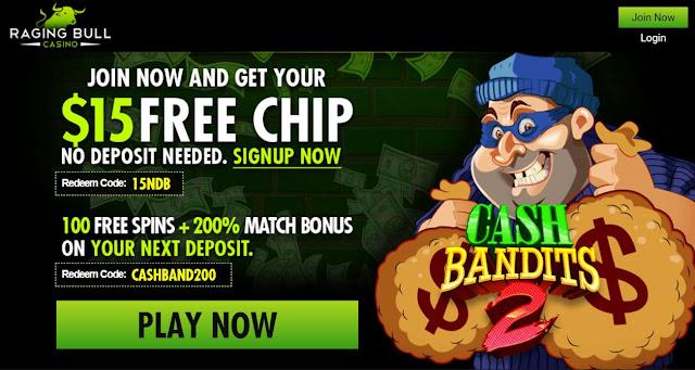 Raging Bull casino $15 free | 100 free spins | 200% welcome bonus