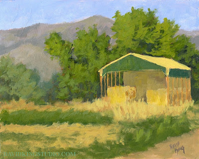 art painting acrylic plein air hay shed rural