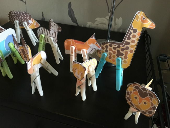 3d animals with clothes pegs as legs