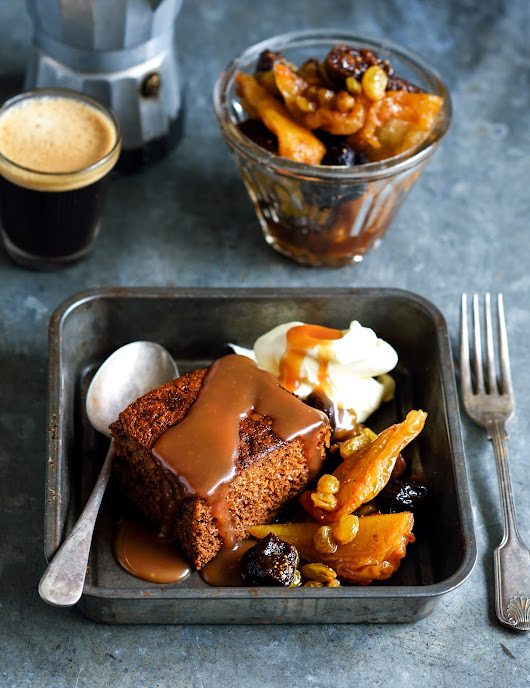 Gingerbread pudding with salted caramel sauce & ginger fruit compote
