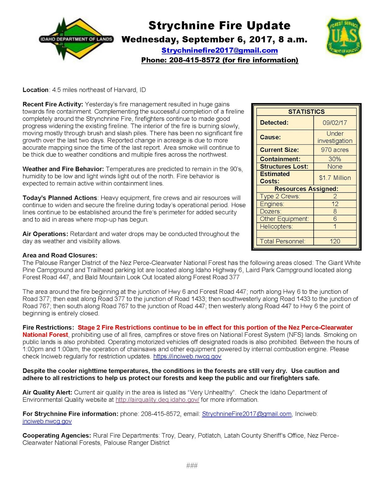 Strychnine Fire Update And Map Sept 6