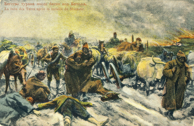Escape of the Turkish army after the battle of Bitola (Monastir) during the First Balkan war Battle of Bitola (Battle of Monastir) - 16 to 19 November 1912