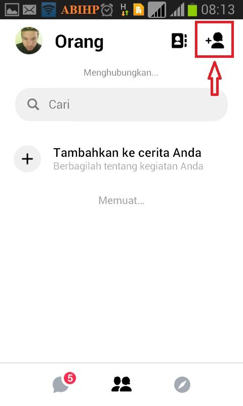 Selanjutnya silahkan klik logo tambahkan orang di messenger.