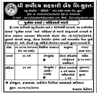 The Sarvodaya Sahakari Bank Ltd. Surat Recruitment 2016 for various posts