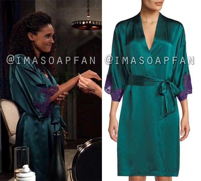 Jordan Ashford, Briana Nicole Henry, Turquoise Robe with Purple Lace Trim, General Hospital, GH