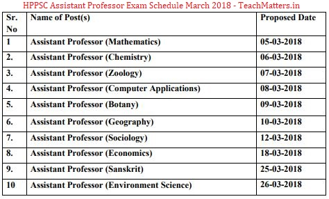 image : HPPSC Assistant Professor (College Cadre) Exam Schedule 2018 (March) (Advt. No. 08/2017) @ TeachMatters