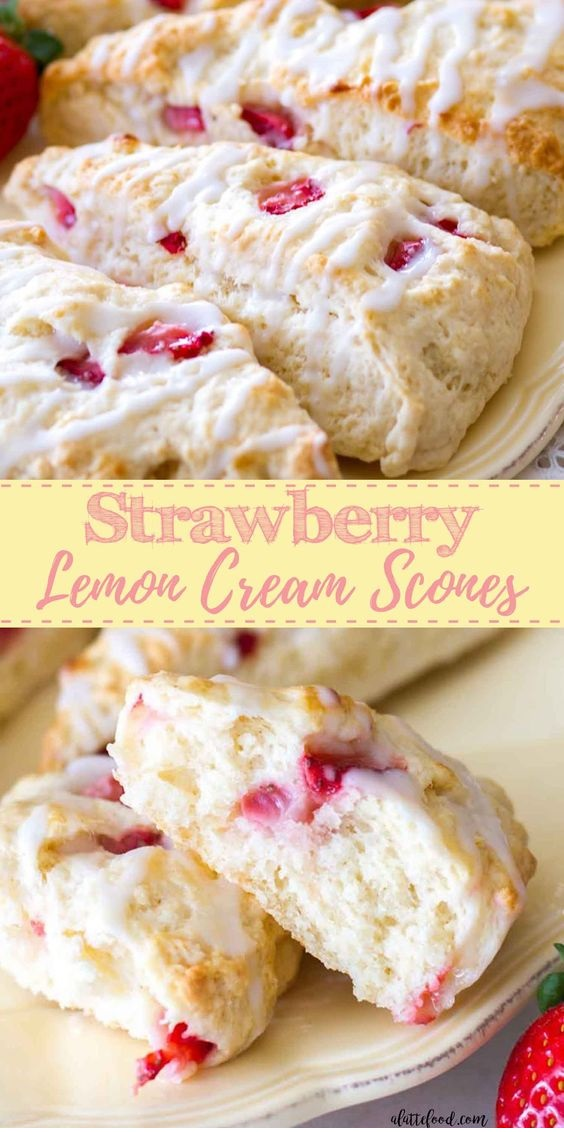 Strawberry Lemon Cream Scones