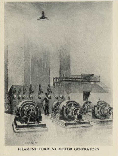 Sketch of the filament current motor generators at the London Twin-Wave Broadcasting Station Brookmans Park