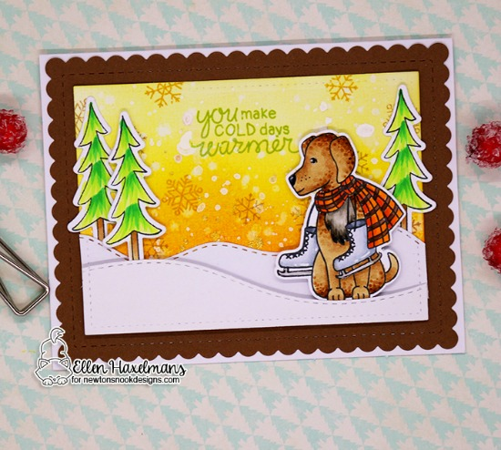 Winter Dog with Ice Skates | Card by Ellen Haxelmans | Winter Woofs Dog Stamp set and Frames & Flags Die Set by Newton's Nook Designs #newtonsnook