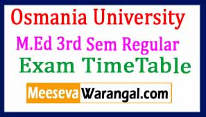 Osmania University M.Ed 3rd Sem Regular March 2017 Exam Time Table