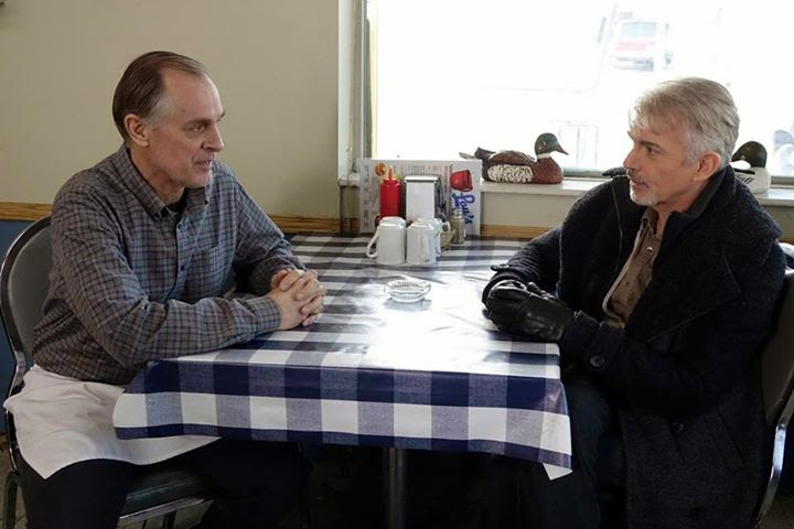 Keith Carradine as Lou Solverson with Billy Bob Thornton as Lorne Malvo at Lou's Coffee Shop in Fargo Season 1 Finale Episode 10 Morton's Fork