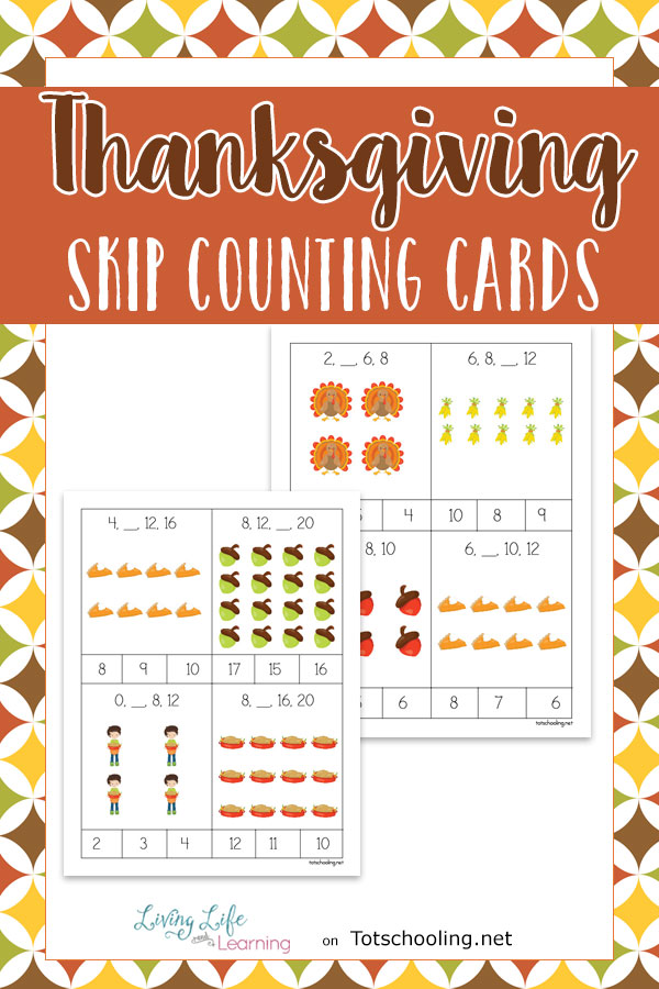 FREE printable Thanksgiving clip cards for kids to practice skip counting. They are self-correcting so kids can check their answers by counting the pictures. Fun Thanksgiving math activity!