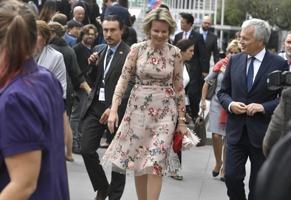 Queen Mathilde wear Natan outfit at the events and meetings in New York. Crown princess Victoria Dolce and Gabbana floral dress