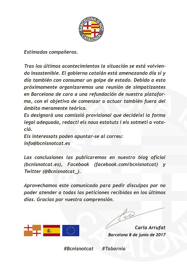 Comunicado de Barcelona is not Catalonia. Bcnisnotcat. Tabarnia. Carla Arrufat.