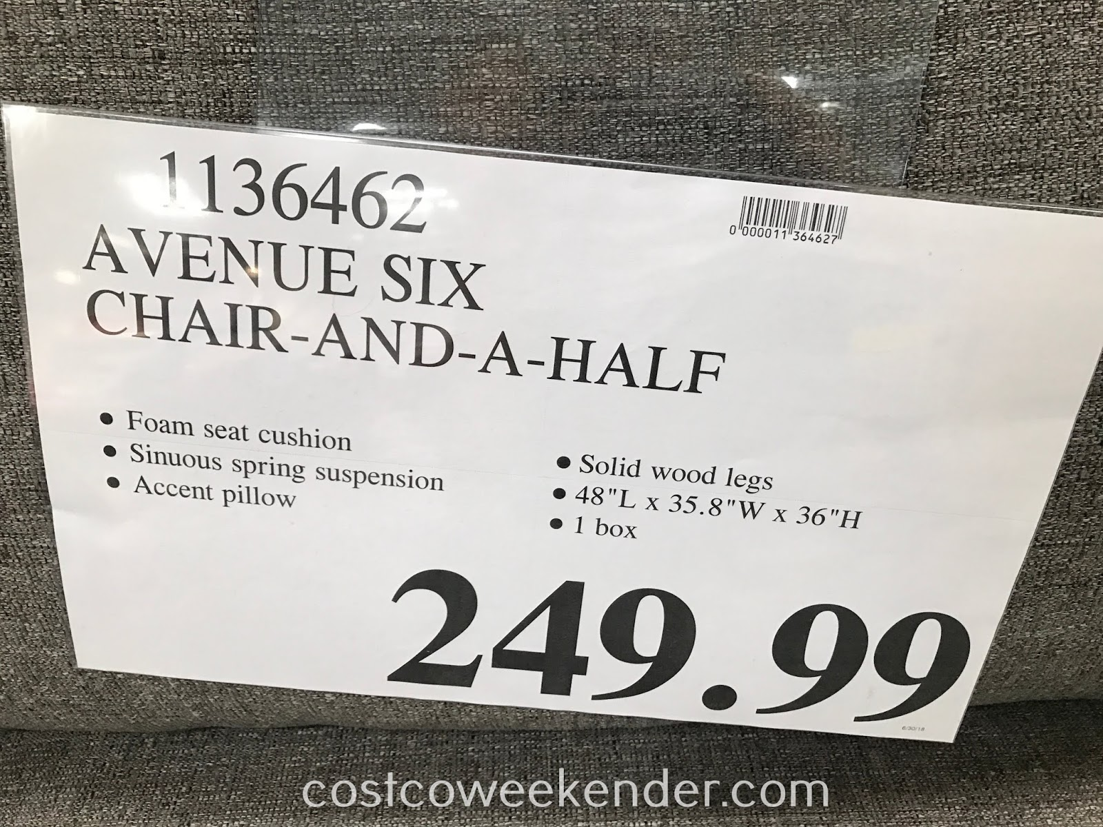 Deal for the Avenue Six Fabric Chair and a Half at Costco