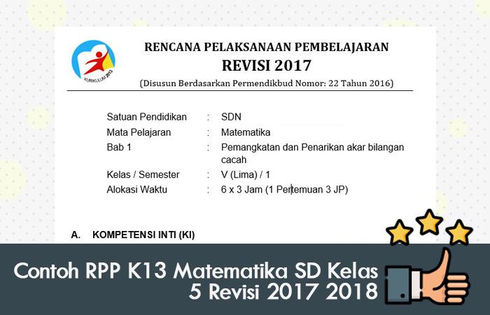 Contoh RPP K13 Matematika SD Kelas 5 Revisi 2017 2018