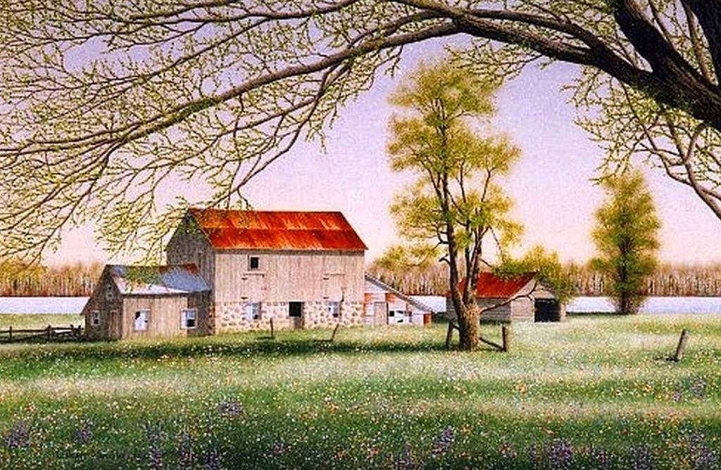Im genes arte pinturas vistas de casas de campo en paisajes - Fotos de casa de campo ...