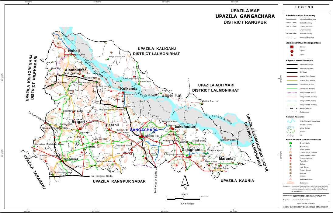 Gangachara Upazila Map Rangpur District Bangladesh