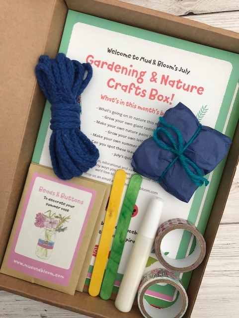 The open box showing the leaflets, string, lolly stick plant markers, glue, wasabi tape