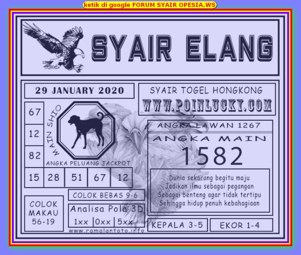 Kode syair Hongkong Rabu 29 Januari 2020 190