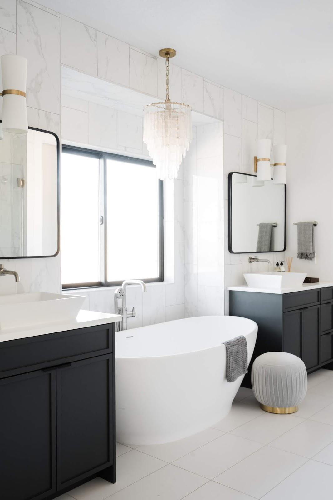 Modern Bathtub, Master Bathroom, Grey Pouf