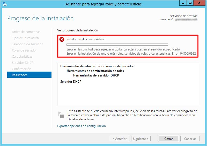 Windows 2012 Essentials Error 0x800f0922